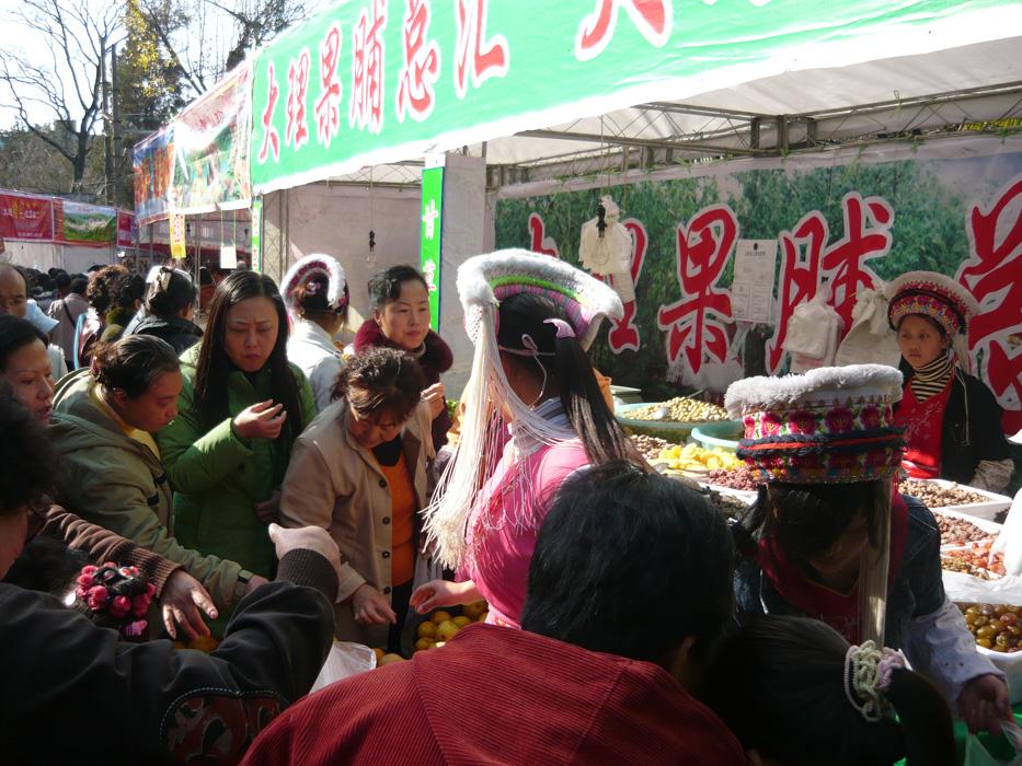 Alle reissen sich um die leckeren Mirabellen der Bai-Maedchen