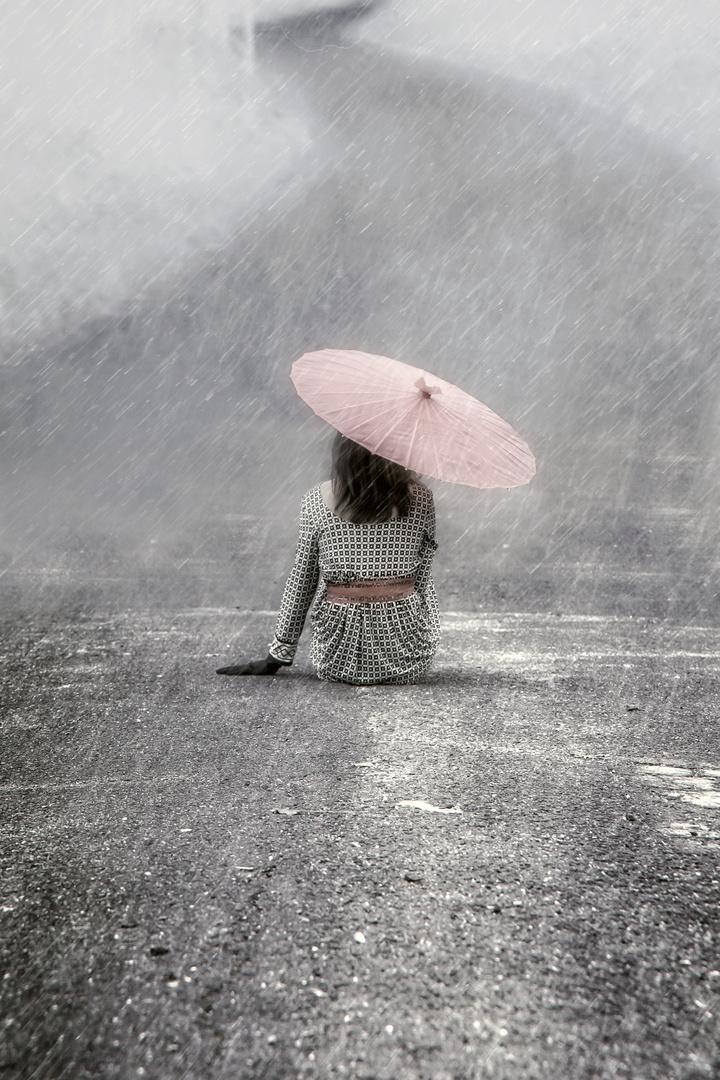 allein im Regen