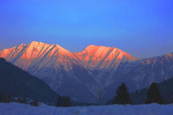 Alpenglühen in den Ammergauer Alpen