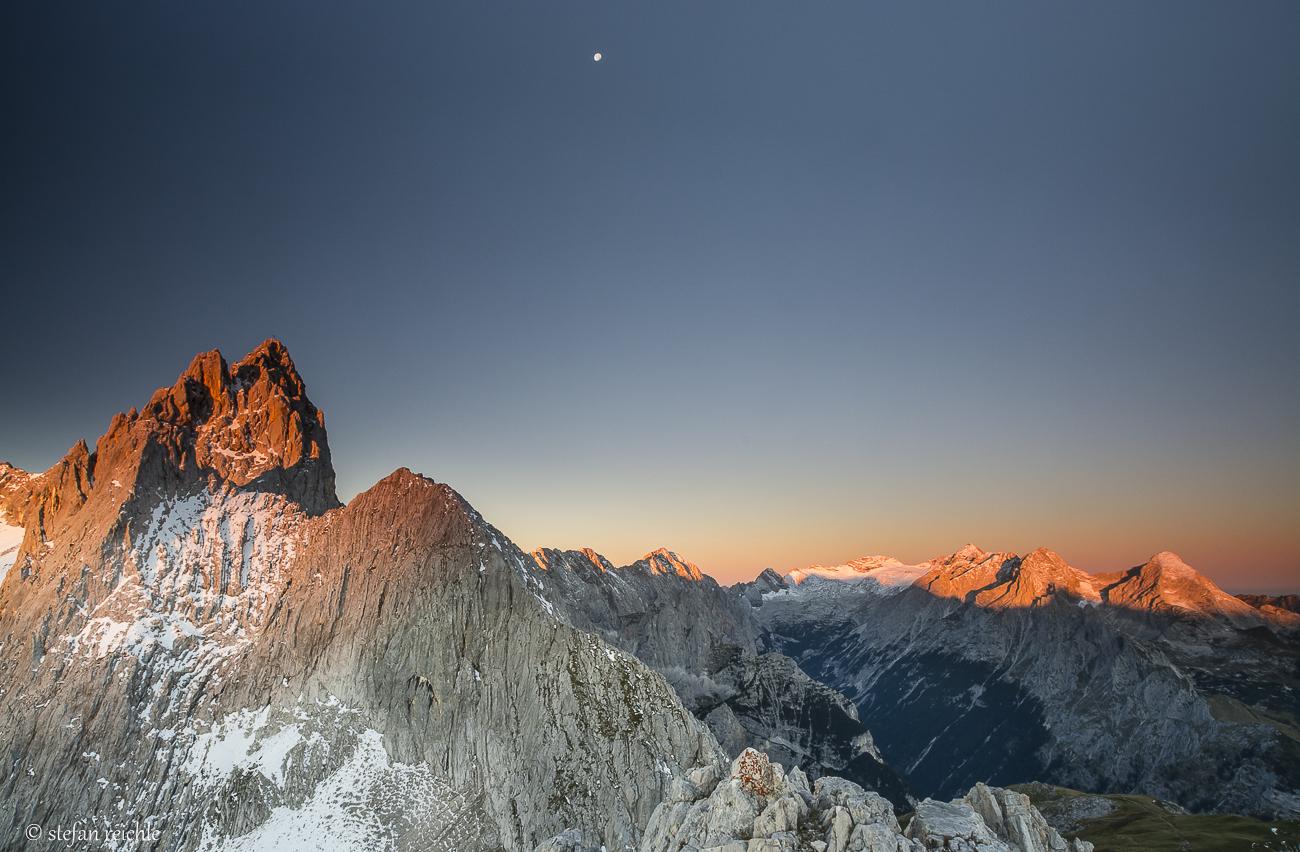 Alpenglühen von der Meilerhütte aus gesehen