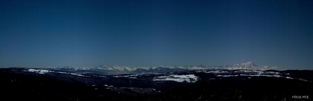Alpes de nuit depuis la Praille
