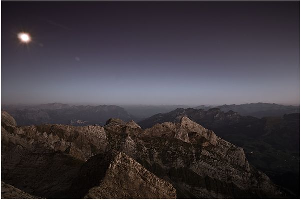 Alpstein bei Nacht ( Vollmond )