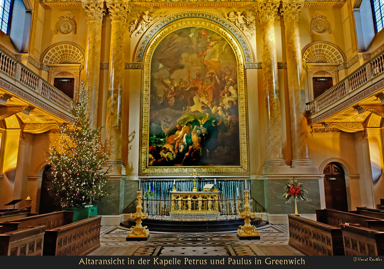 Altaransicht der Kapelle Petrus und Paulus in Greenwich / England