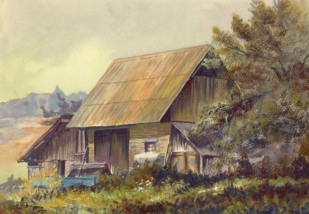 Alte Bauernhütte von Conrad Franz (auf Karton 20 x 30 cm)