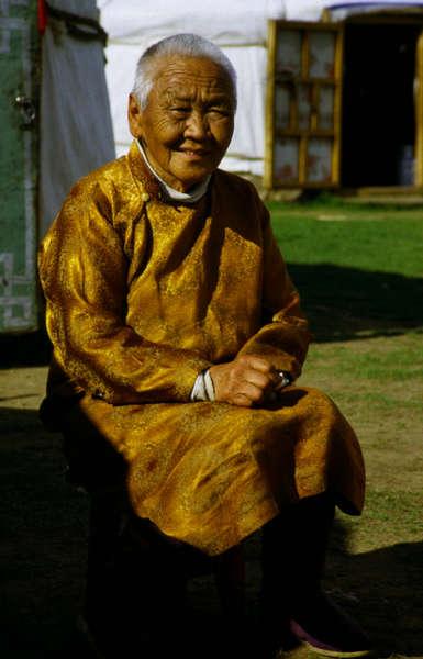 Alte Frau aus der Mongolei