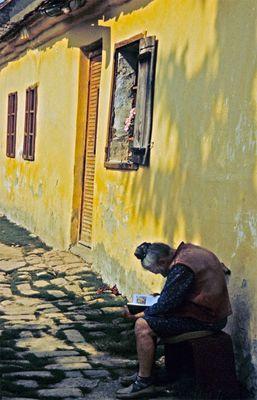 Alte Frau mit Buch in der Sonne