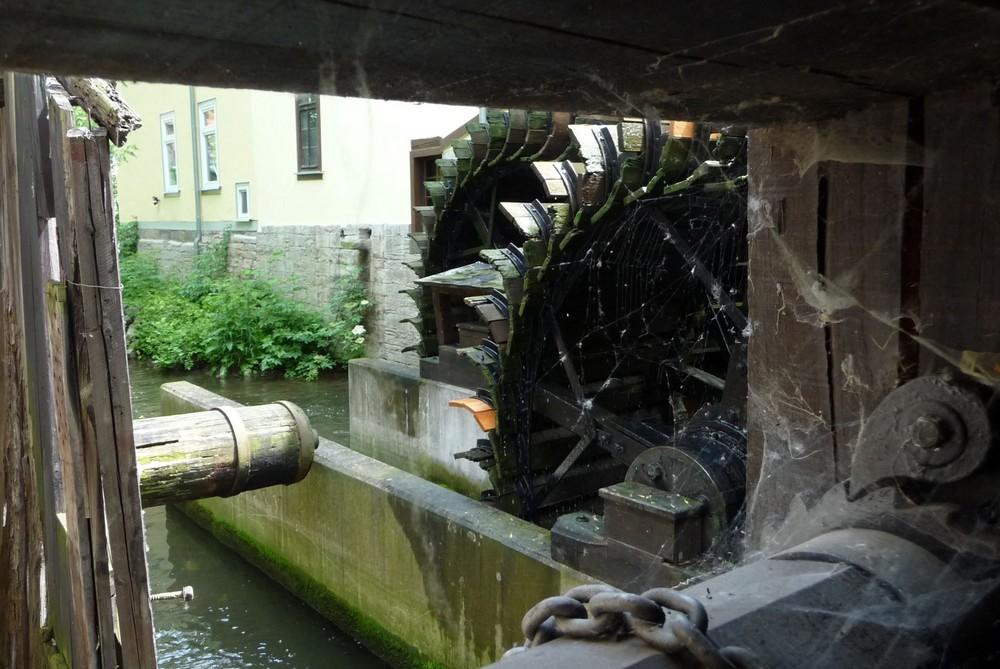 """Alte Mühlräder in der """"Heiligen - Mühle"""" Erfurt"""