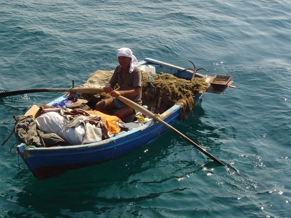 Alter Fischer fährt nach Hause