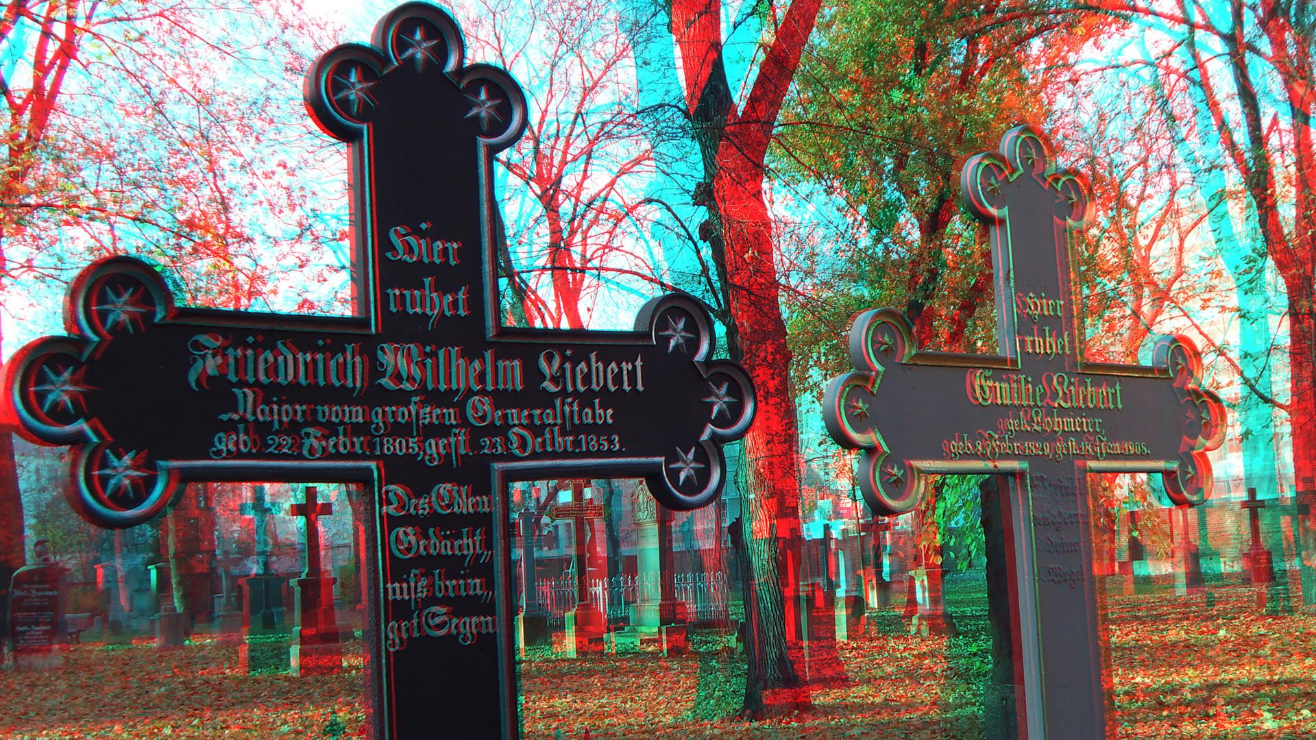 Alter Garnisionsfriedhof Berlin-Mitte in 3D Anaglyph