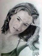 Alyssa Milano an einen Ast gelehnt-Handportraitiert