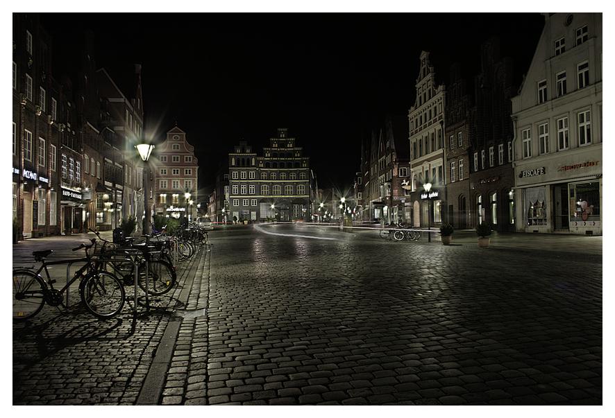 Am Sande bei Nacht in Lüneburg!