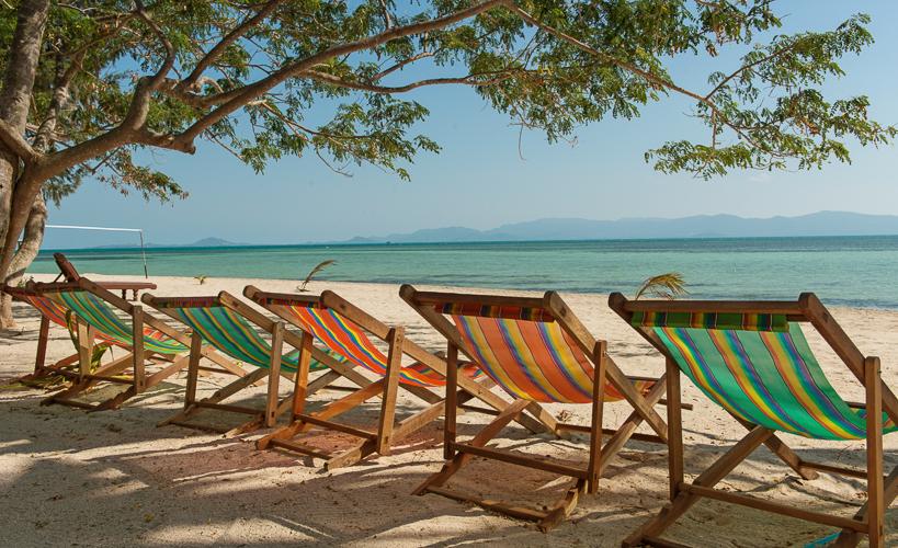 Am Strand von KoPhangan mit Blick auf KoSamui