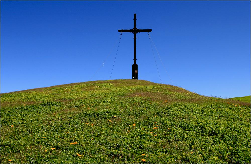 Am Ziel, der Gipfel der Nockspitze