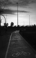 Amaneciendo en Valencia-carril bici
