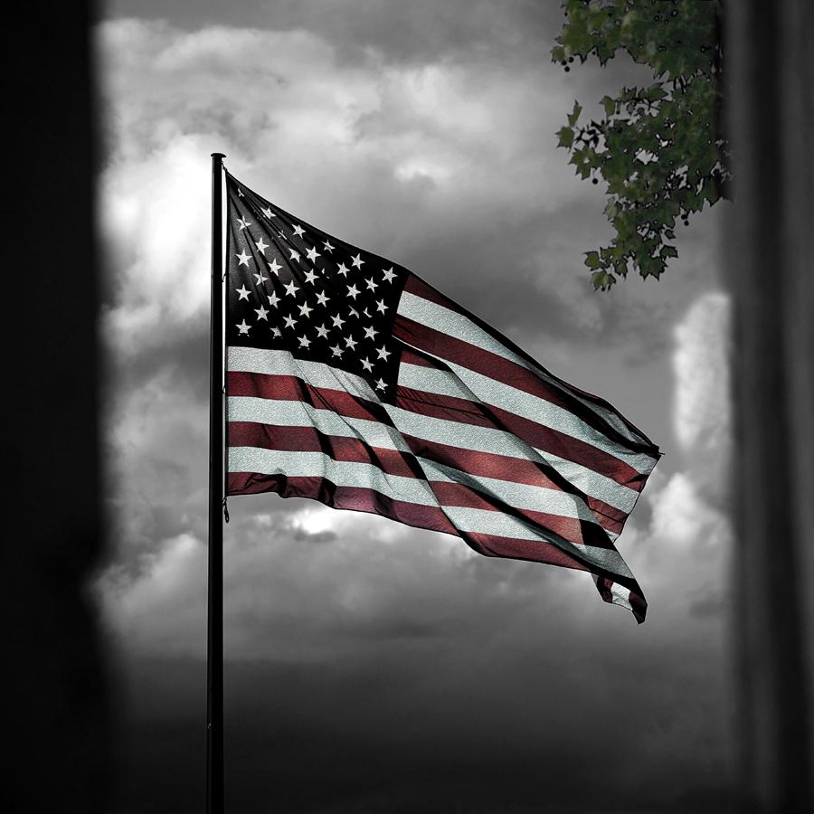 Amerikanische Fahne im Bereich des Deutschen Ecks