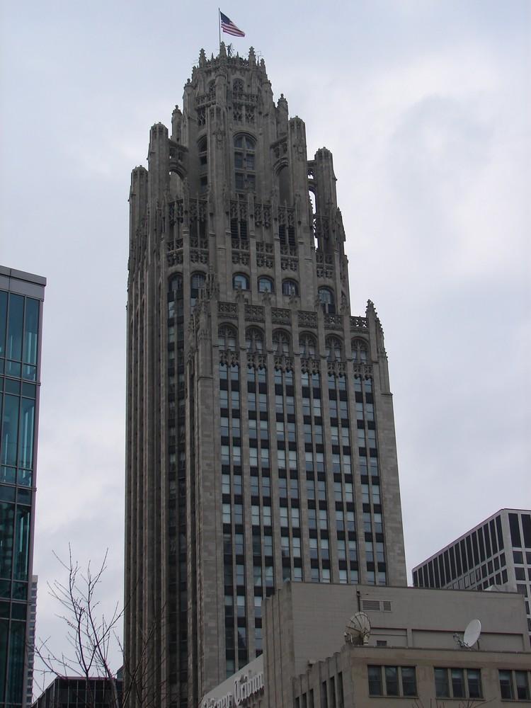Amerikanische Flagge in Chicago City