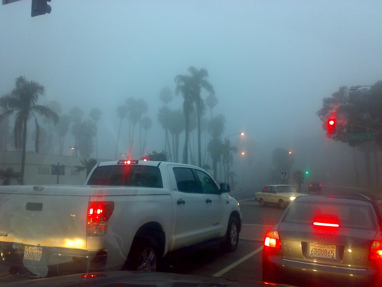 Ampel im Nebel in Santa Barbara
