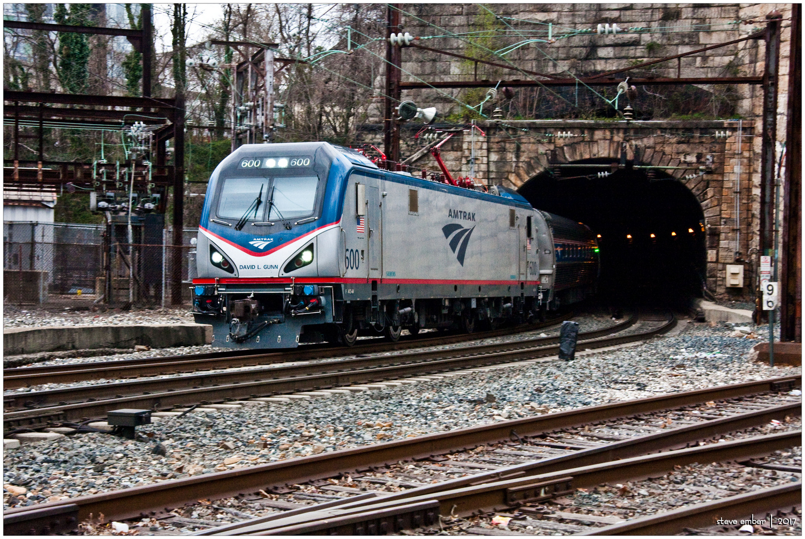 Amtrak ACS-64 Sprinter Emerges from Tunnel on Approach to Baltimore Penn Station - No. 2