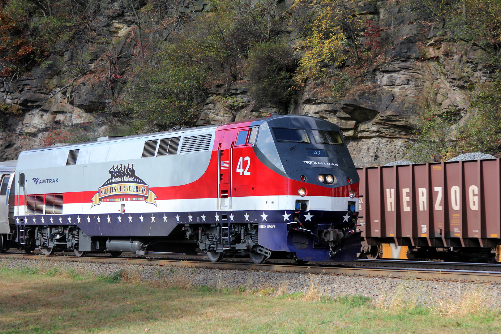 "Amtrak P42 AMTK#42 with Logo America`s Railroad ""SALUTES OUR VETERANS"","