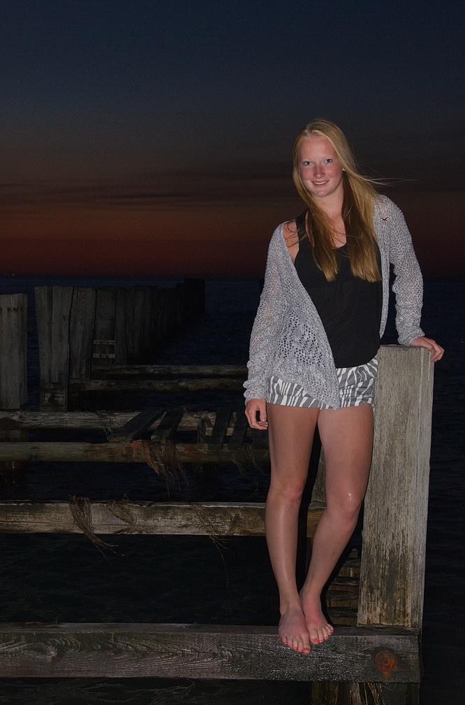 an einem warmen Sommerabend am Meer