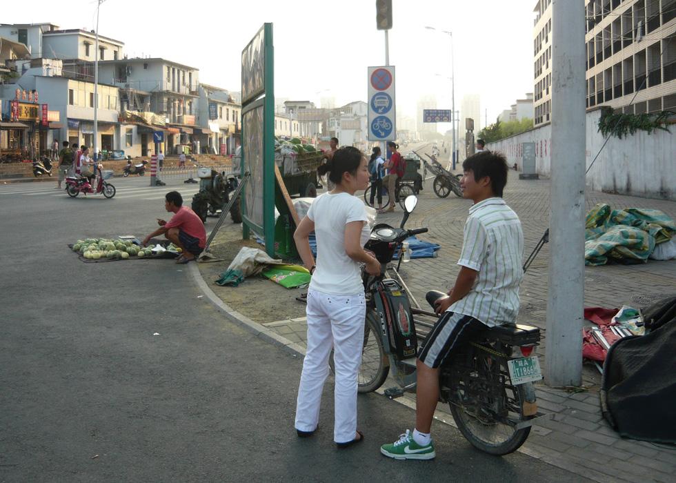An einer Straßenecke in Hefei