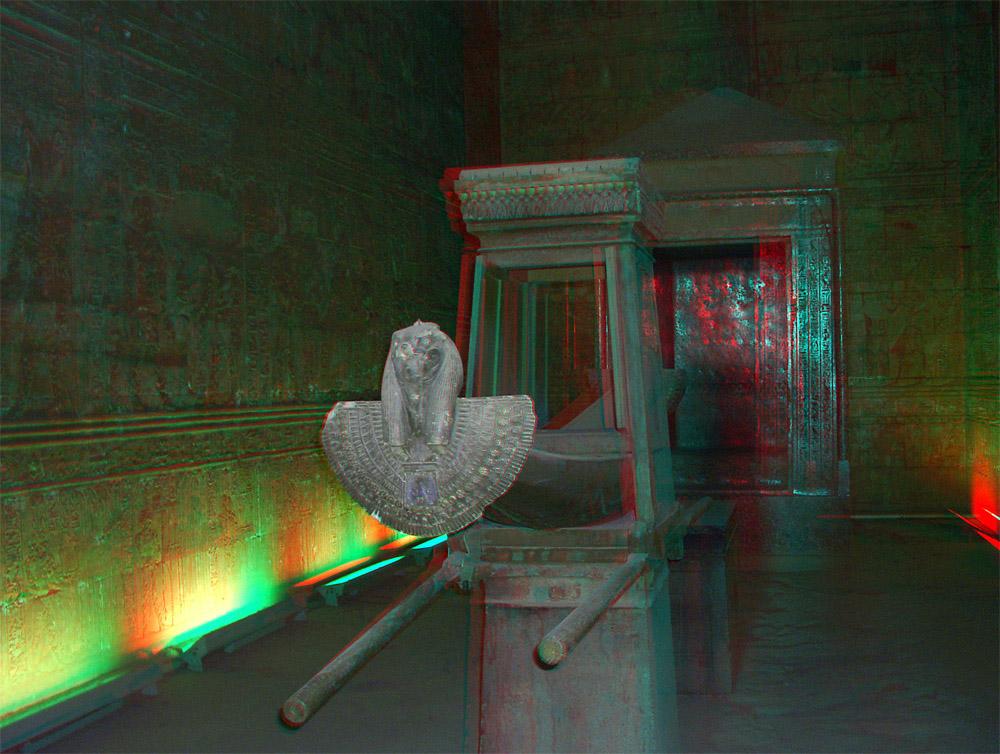 Anaglyphe - Ägypten - Barke im Tempel Edfu