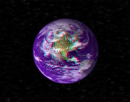 """Anaglyphe - Virtuelle 3D-Darstellung unseres """"Blauen Planeten"""" - Quelle des Originals: NASA"""