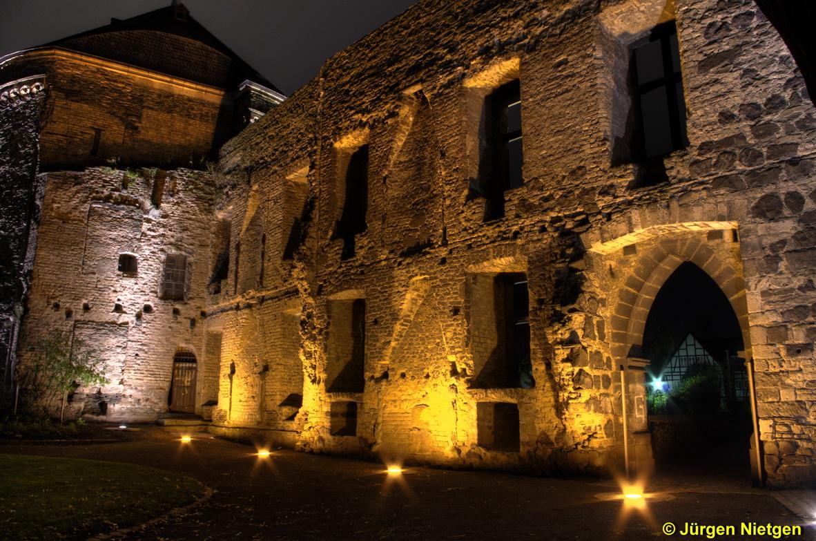 Andernacher Schlossgarten bei Nacht von der anderen Seite