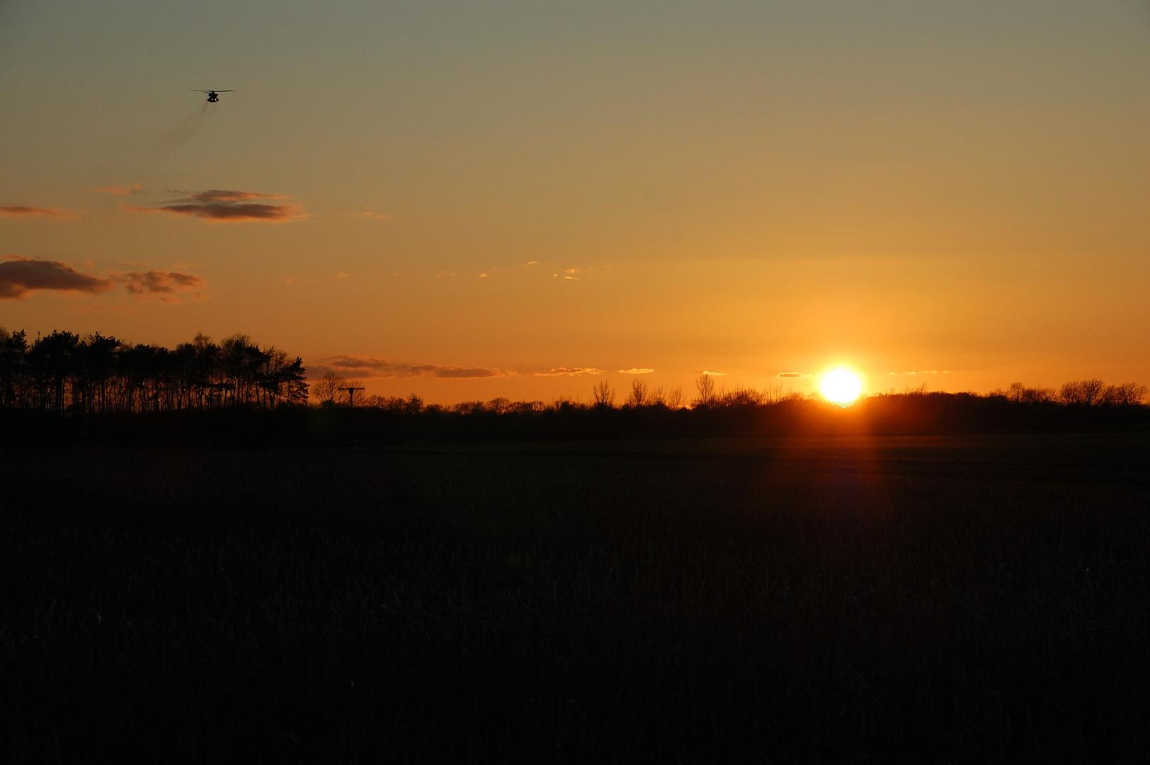 Anflug im Sonnenuntergang