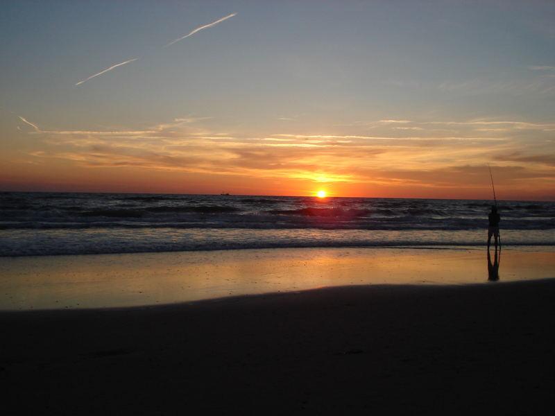 Angeln bei Sonnenuntergang