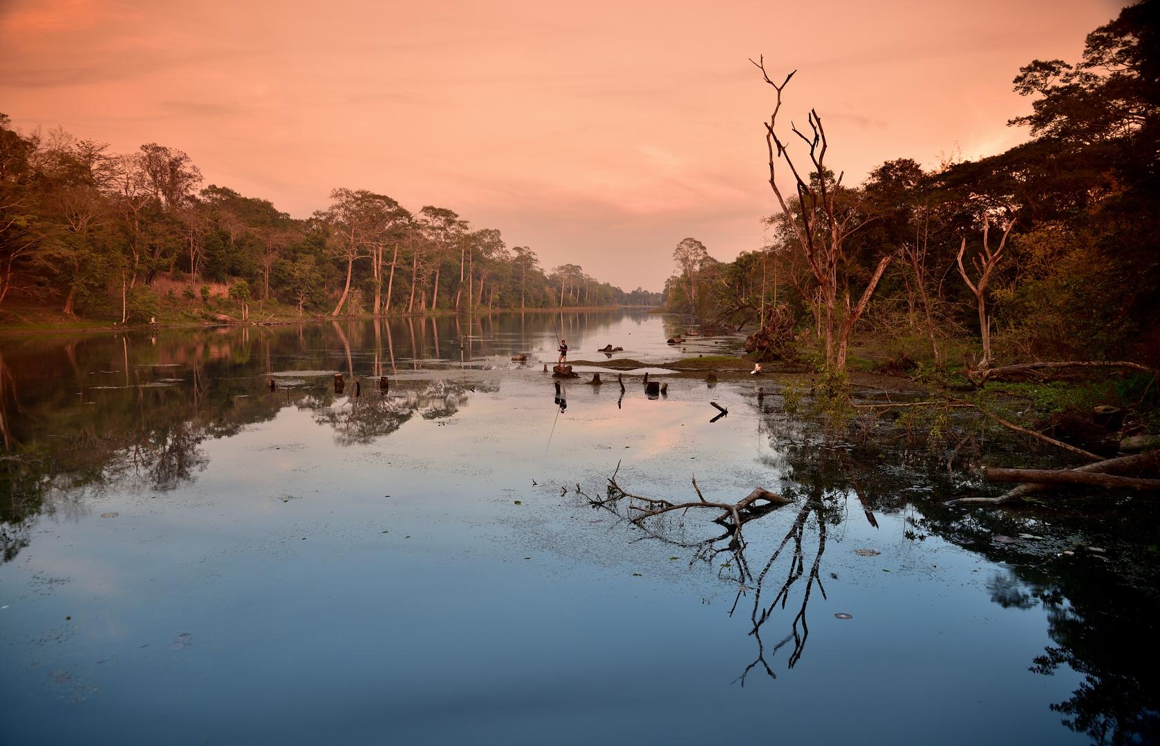 Angler am Baray von Angkor Thom
