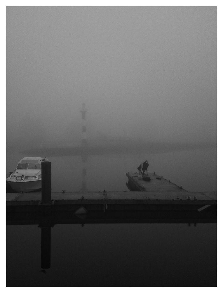 Angler am Hafen