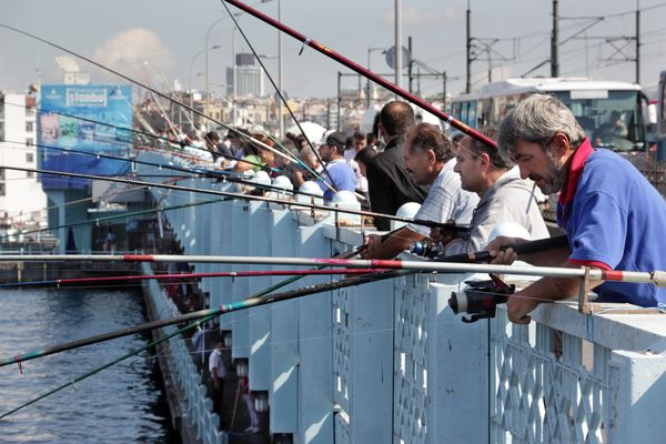 Angler auf der Galata-Brücke