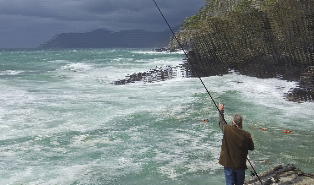 Angler bei Sturmflut (3D)