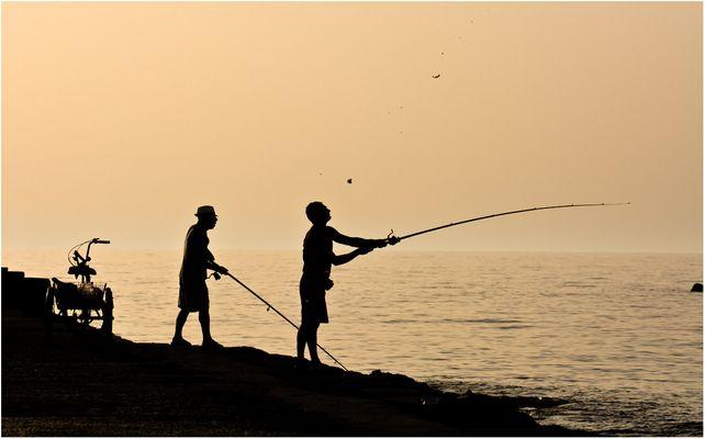Angler in der Abendsonne