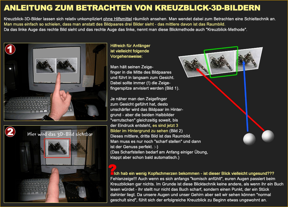 Anleitung zum Betrachten von Kreuzblick-3D-Bildern