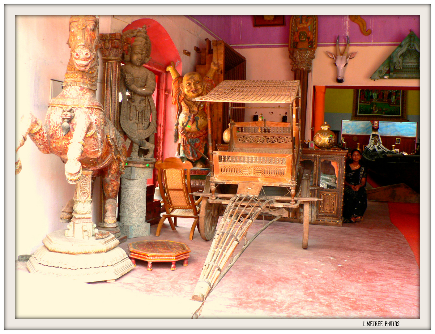 Antique Shop and a Lady in Black in Fort Cochin