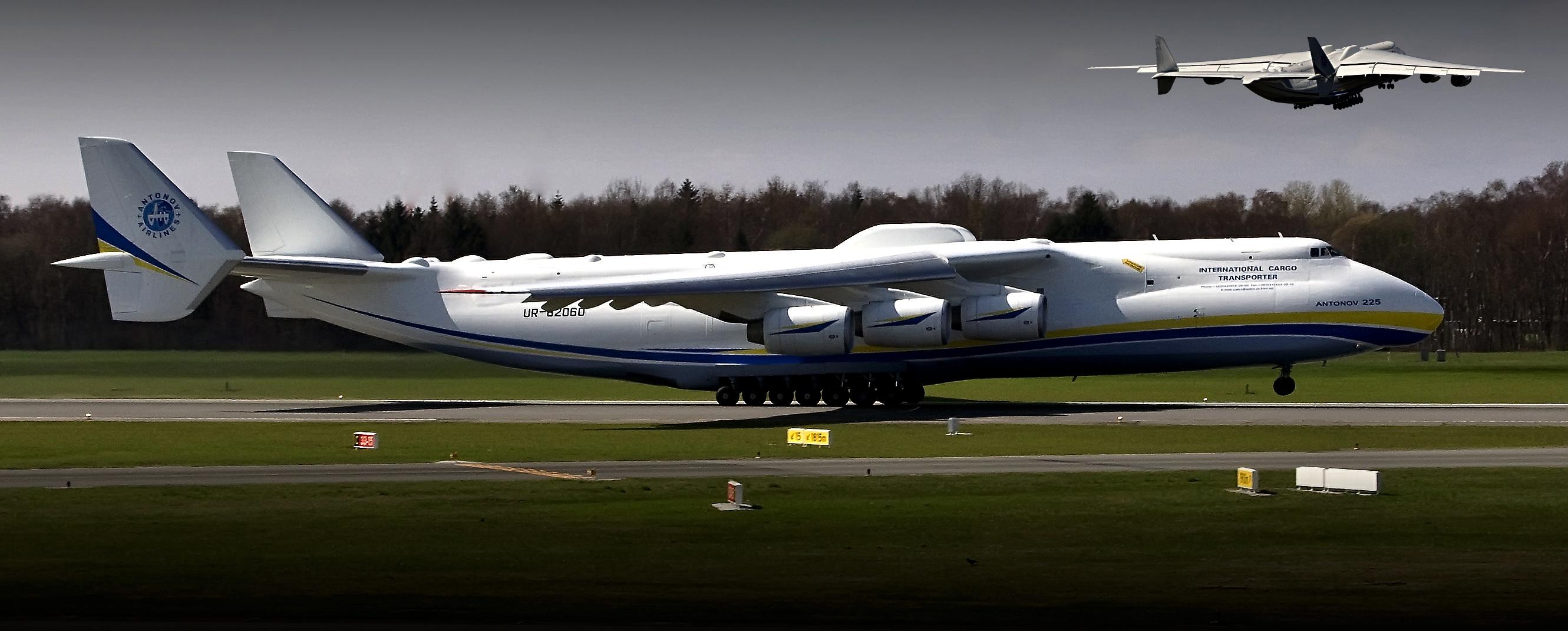 Antonov 225 beim Start in Hamburg