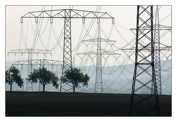 Apfelbäume, Windräder und Strommasten