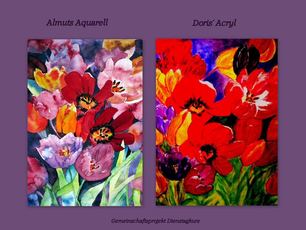 Aquarell- und Acryltulpen