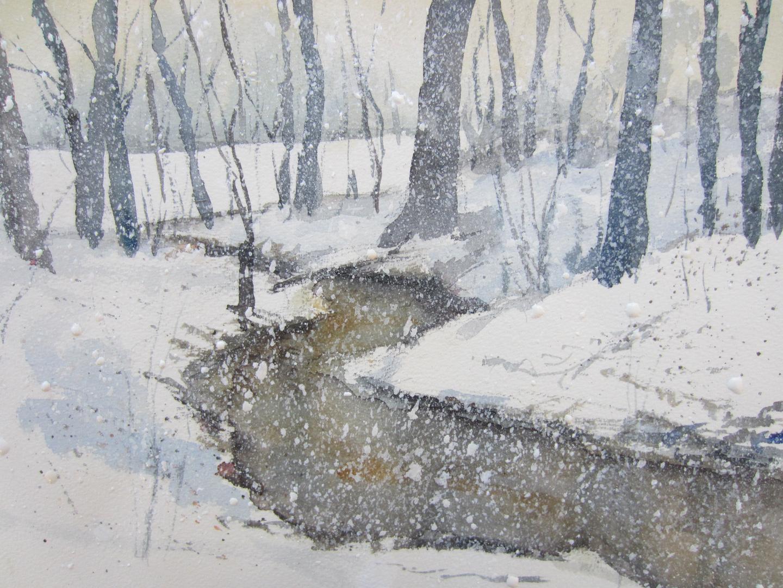 Aquarell Winterlicher Bach