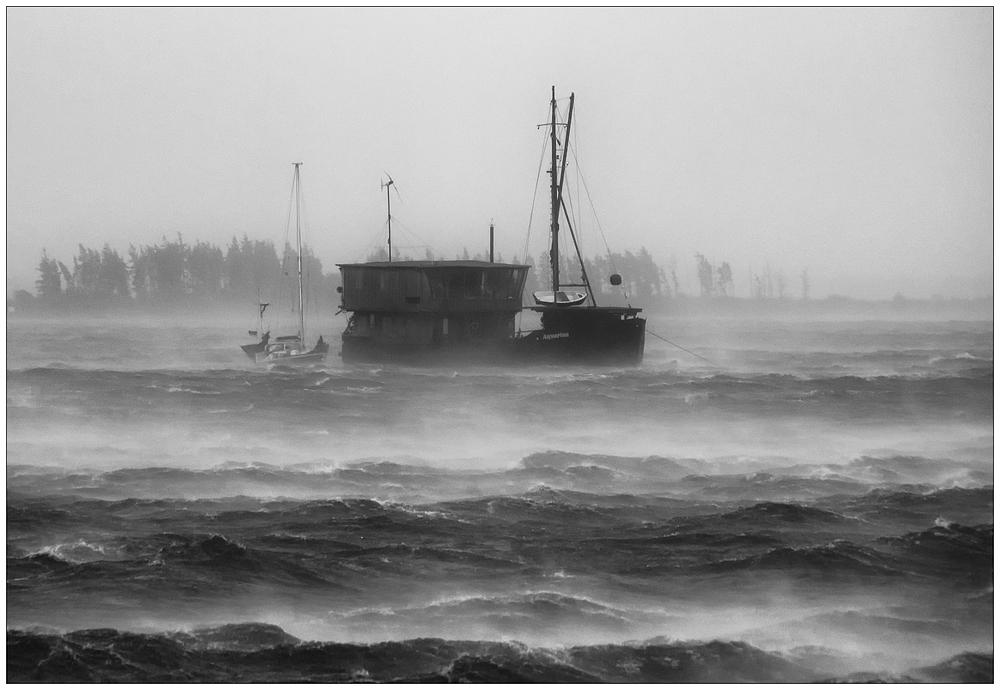 Aquarius kämpf mit Orkan Christian