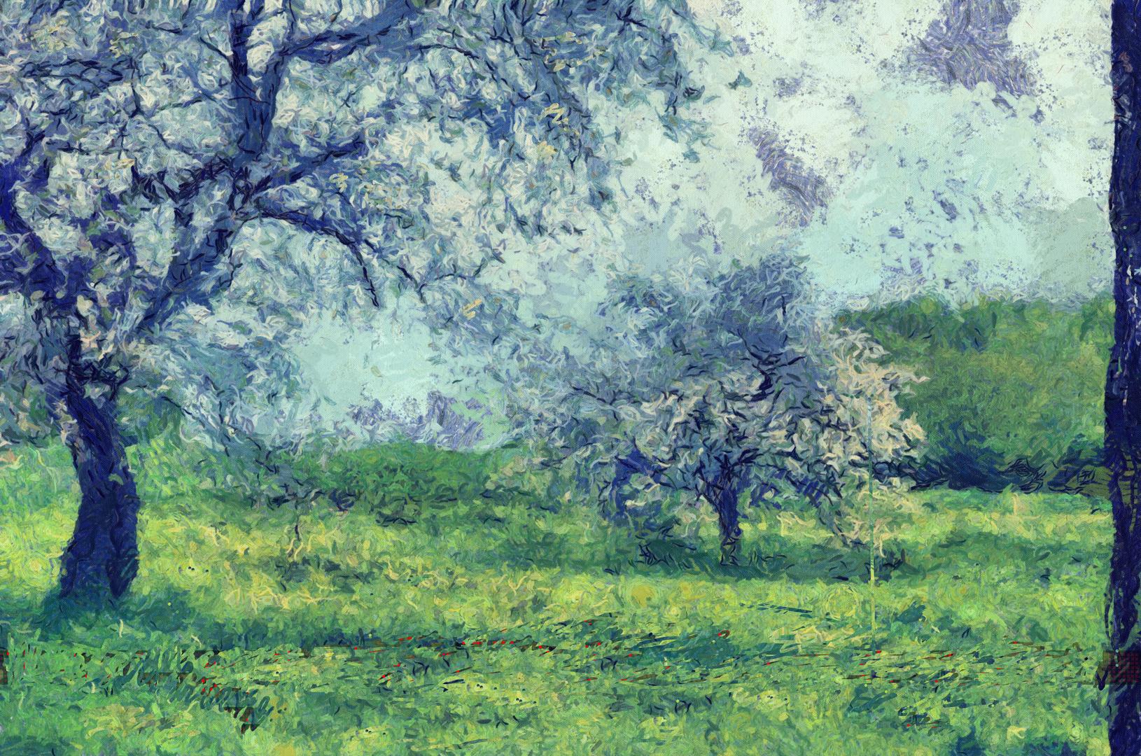 Arbres en Fleurs , dans un champ