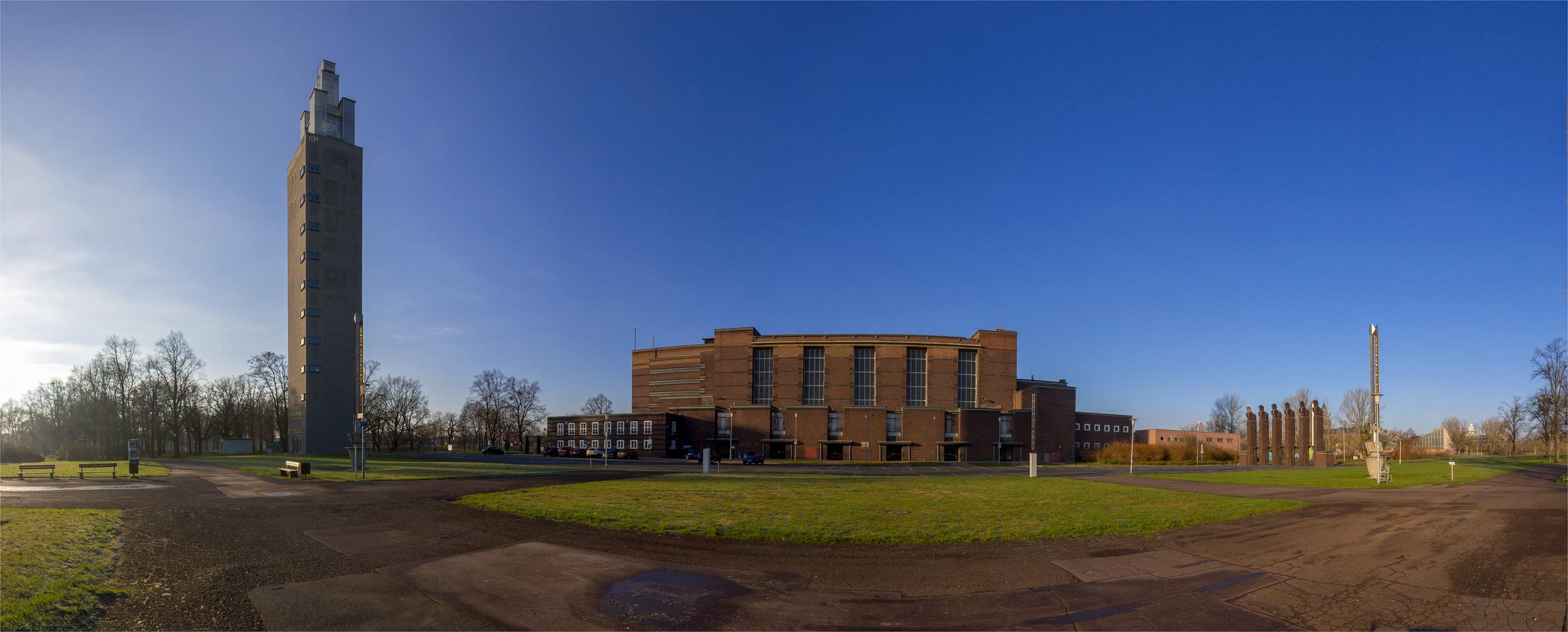Architektur Magdeburg architekturensemble stadthalle magdeburg foto bild panorama