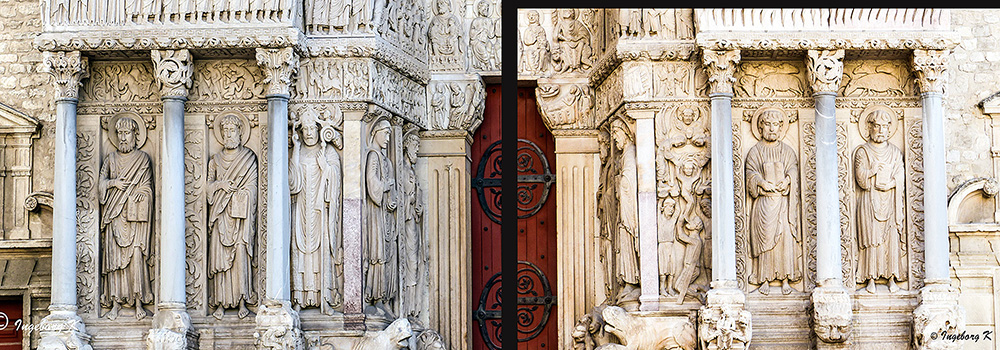 Arles - Kathedrale St. Trophime - Eingangsportal rechts und links der Türe