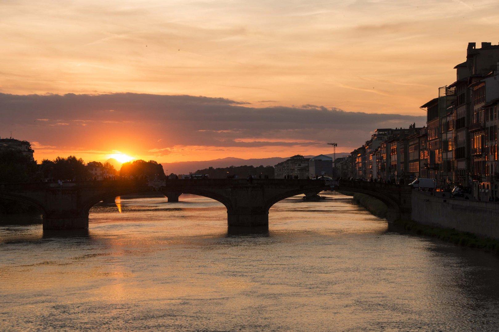 Arno beim Sonnenuntergang