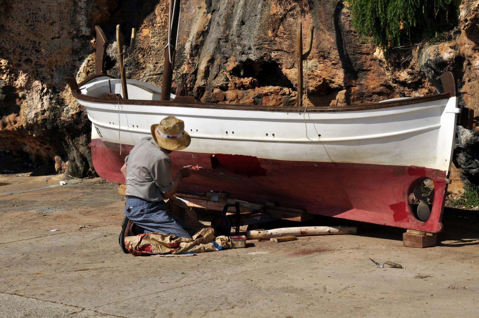 arreglando la barca