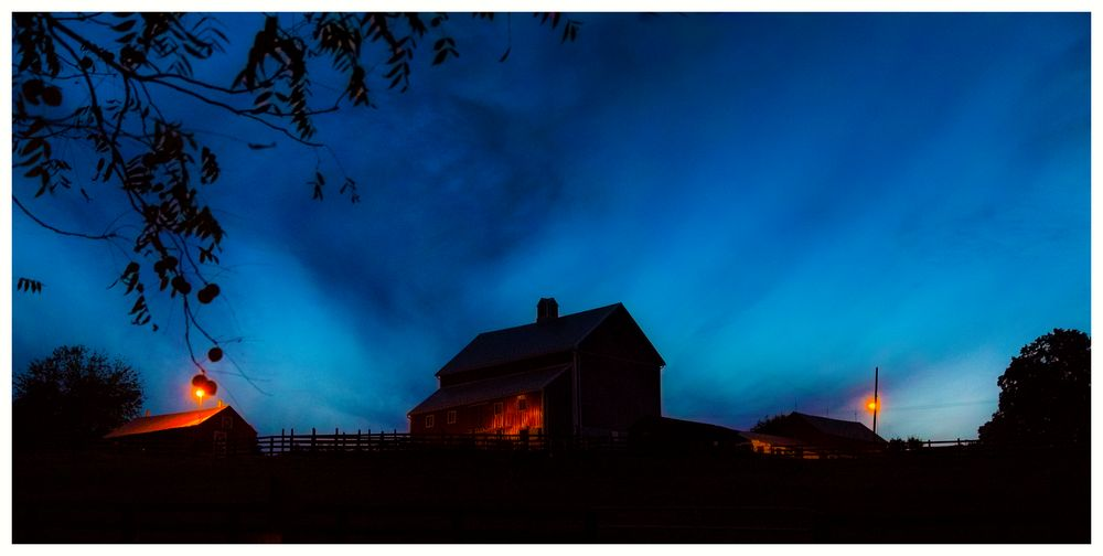 As night is falling out by the Horse Farm