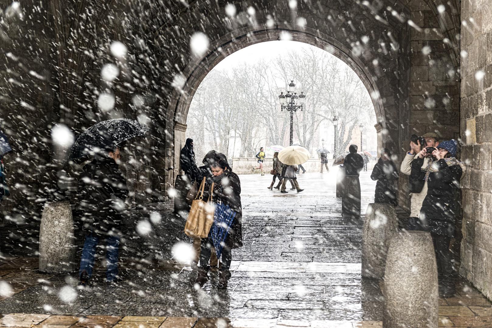 Asi nieva en Burgos