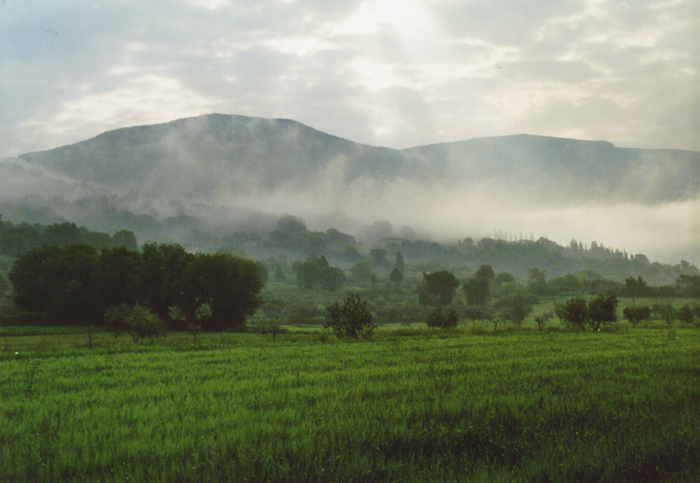 Assisi im Nebel